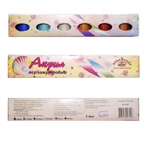 Набор красок Акрил перламутровый 6 цветов, набор №1